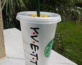 Friends TV Show Personalized Starbucks Cup, NAME Only, Personalized Tumbler, Friends TV Show Theme Tumbler, Customized Starbucks Cups