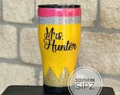 Personalized Teacher Gift, Glitter Cup, Glitter Stainless Steel Tumbler