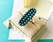 Vintage Zuni Sterling Silver and Turquoise Petit Point Snake Eye Shadow Box Ring Size 6
