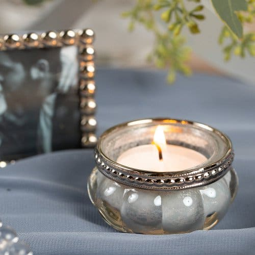 Silver Mercury Glass Votive Candle Holder