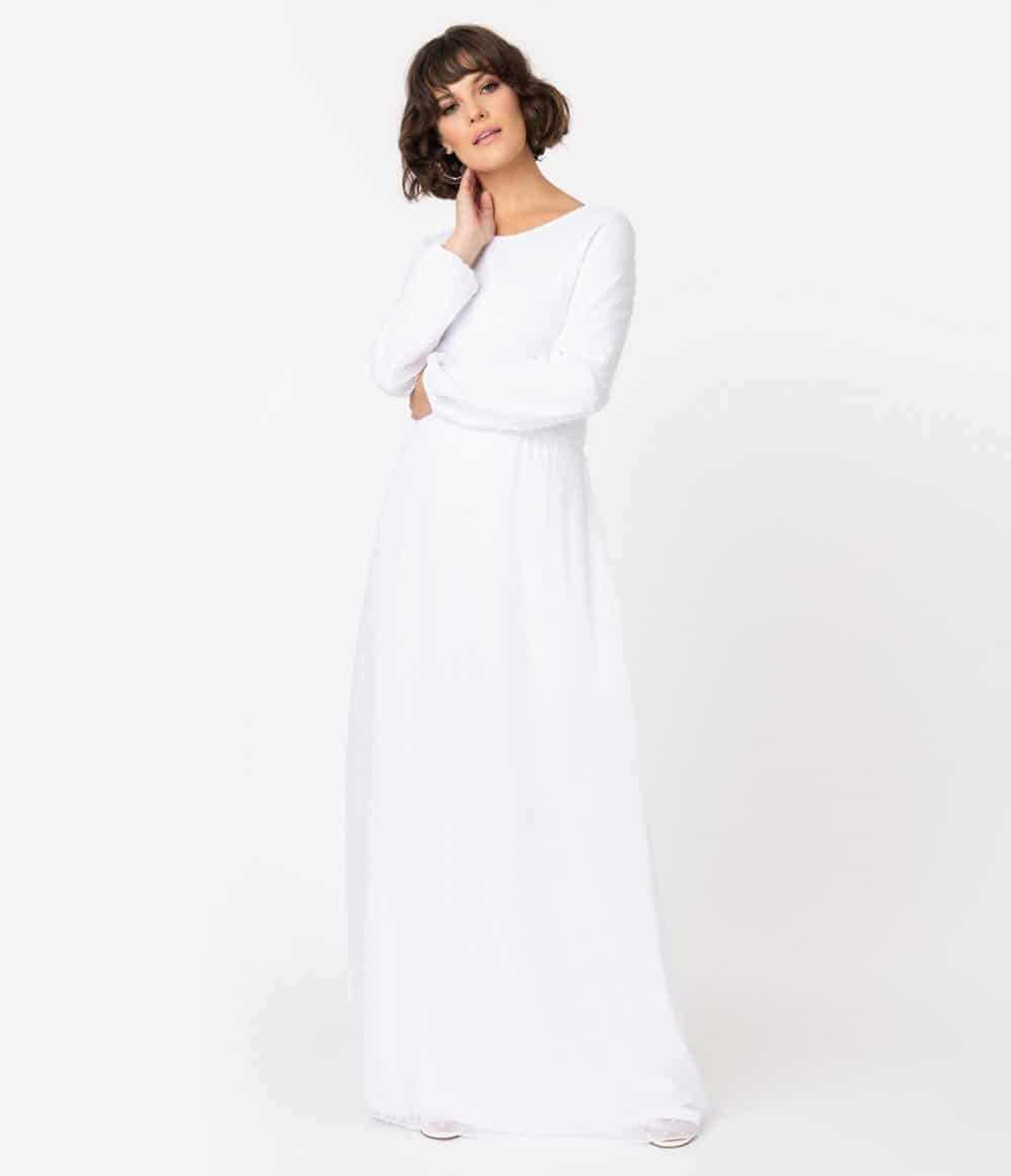 White Swiss Dot Long Sleeve Maxi Dress