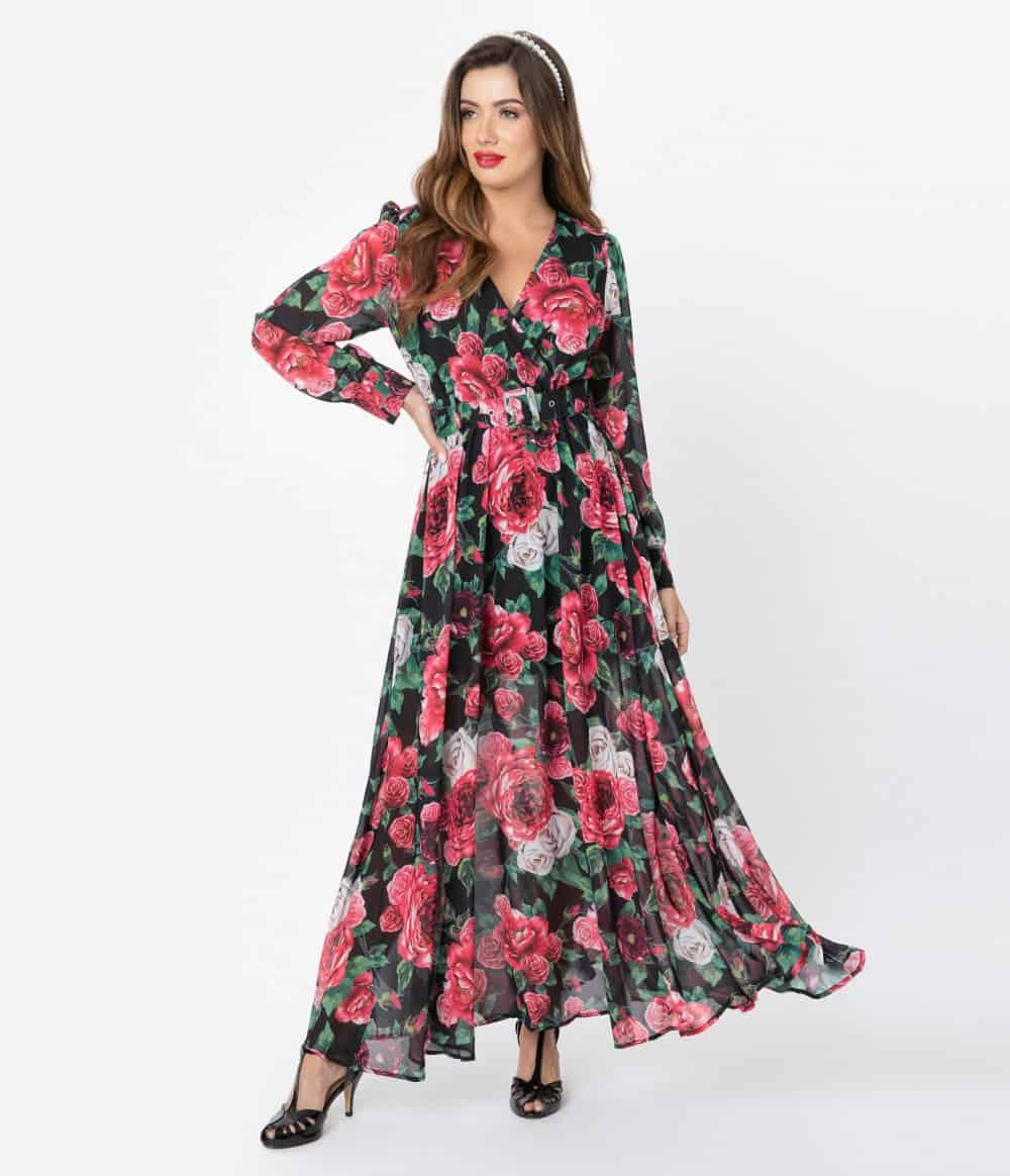 1970S Style Black & Pink Floral Belted Maxi Dress