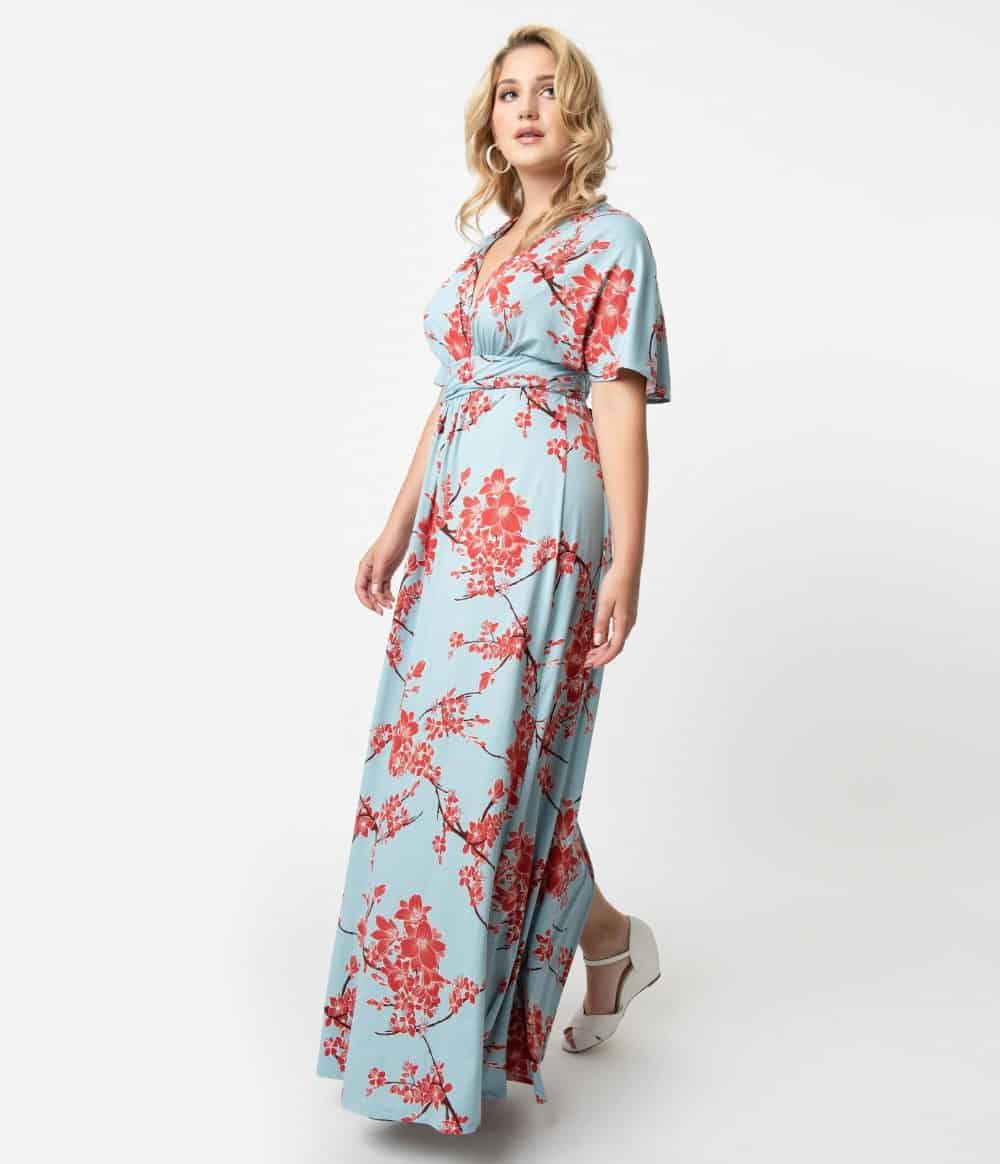 Plus Size Vintage Style Light Blue & Red Cherry Blossom Print Sleeved Vienna Maxi Dress