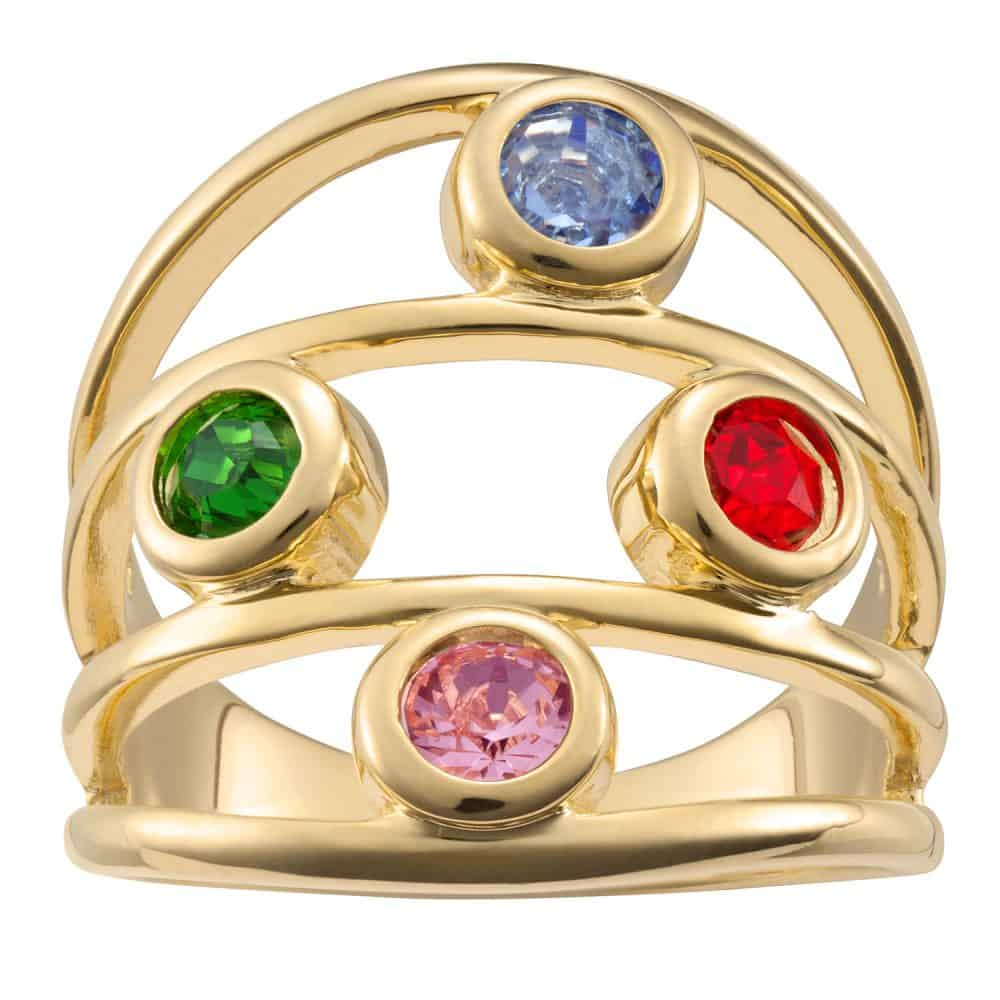 Gold over Sterling Family Birthstone Ring - 4 Stones
