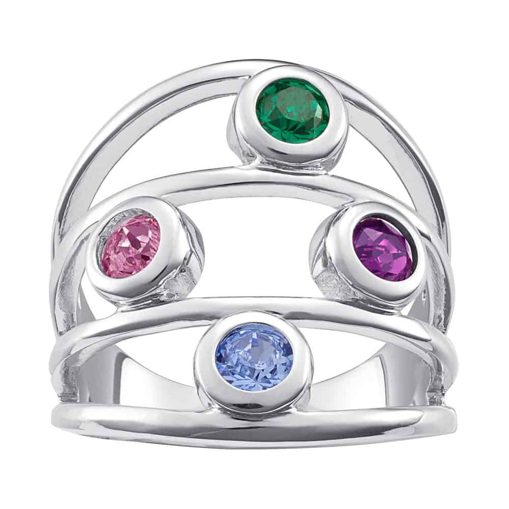Sterling Silver Family Birthstone Ring - 4 Stones