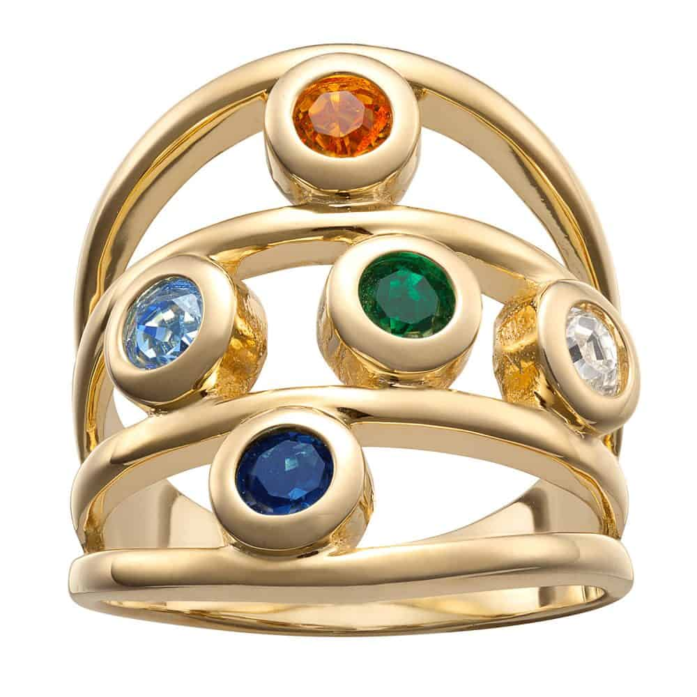 Gold over Sterling Family Birthstone Ring - 5 Stones