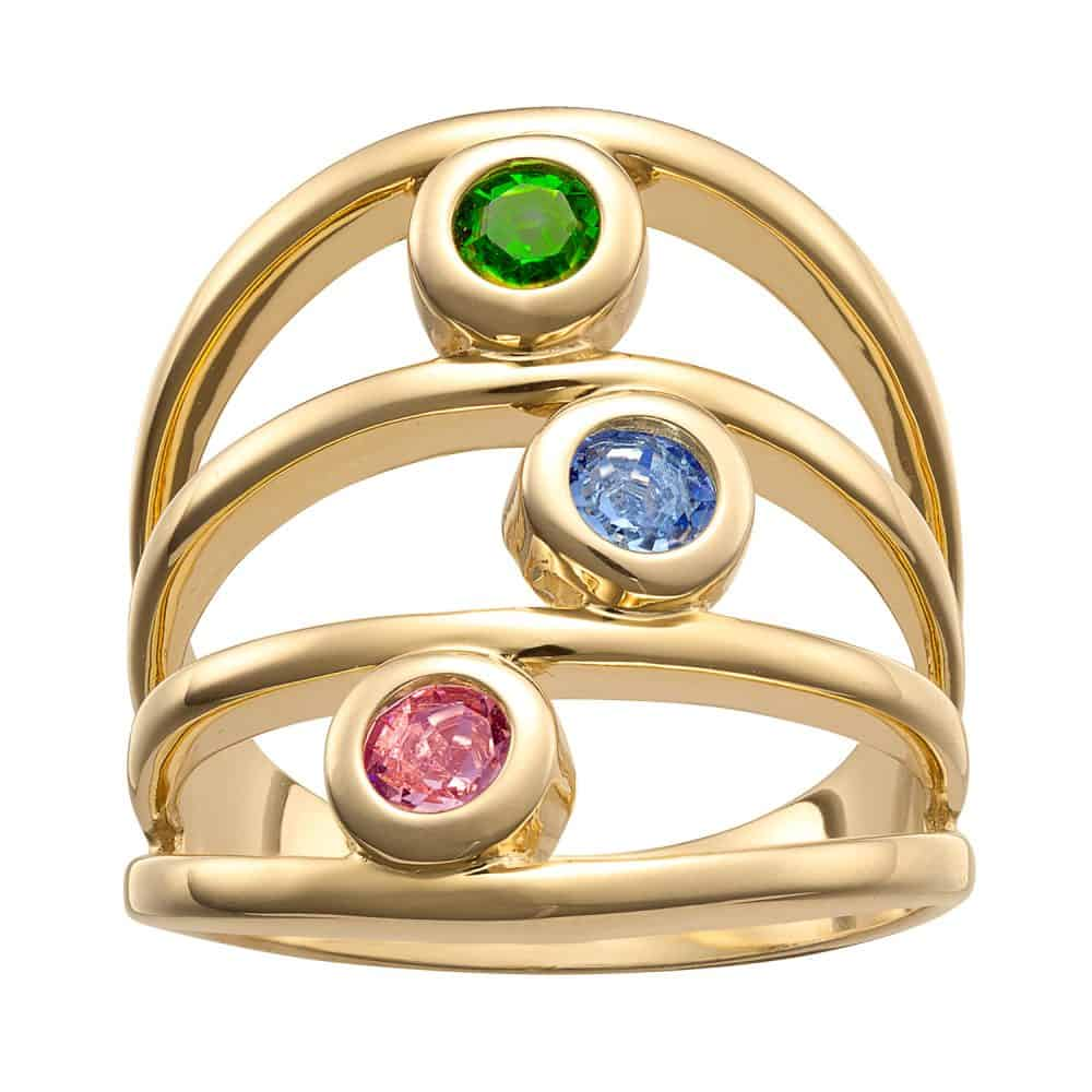 Gold over Sterling Family Birthstone Ring - 3 Stones
