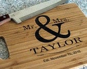 FREE SHIPPING! Wedding Cutting Board Wood Personalized Gift Mr Mrs Name Sign Carved Cutting Board Engraved