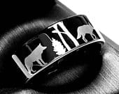 Wolfs, Elks in Forest Pattern Engraved Black Wedding Ring Tungsten Wedding Band Tungsten Wedding Bands Women Ring, His Hers Engagement Rings