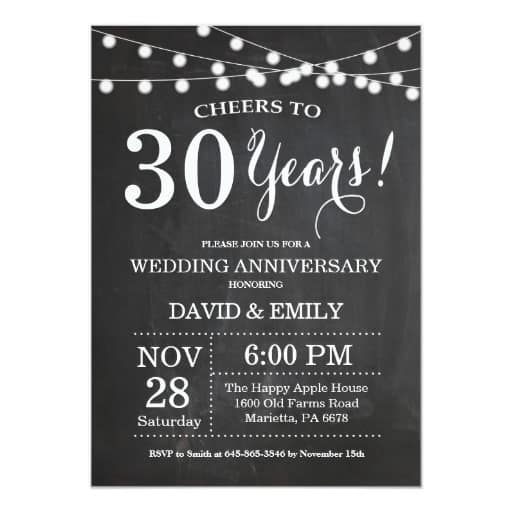 30th Wedding Anniversary Invitation Chalkboard