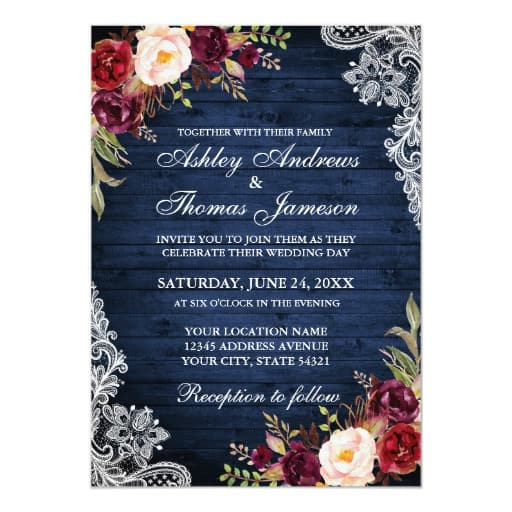 Rustic Wedding Blue Wood Burgundy Floral Lace Invitation