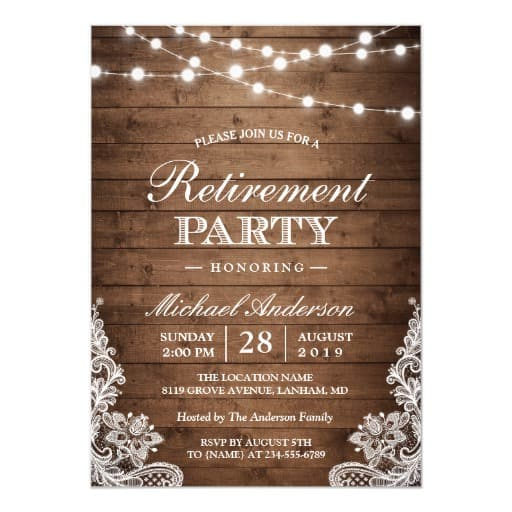 Retirement Party Rustic Wood String Lights Lace Invitation