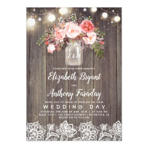 Pink Flowers Mason Jar Rustic Lace Wedding Invitation