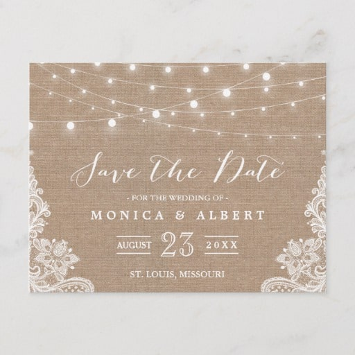 Rustic String Lights Burlap Lace Save the Date Announcement Postcard