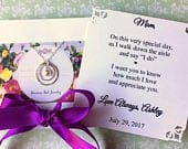 MOTHER of the BRIDE Gift w PERSONALiZED Card PEARL or Cubic Zirconia Sterling Silver Mother of the Groom Necklace Wedding Gift Thank You Mom