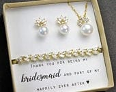 CUSTOM Bridesmaid Gift Pearl Bridesmaid Earrings Bridesmaid Jewelry Set Bridal Earrings Personalized Wedding Mother of Bride Jewelry Set