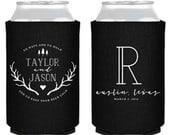 Personalized Wedding Favors, To Have and To Hold, Rustic Can Coolers, Rustic Antler Favors, Wedding Favors, Wedding Coolers, Monogram, 1382