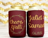 Personalized Wedding Can Coolers Cheers Yall Personalized Wedding Favors Rustic Custom Wedding Can Coolers Neoprene Can Coolers