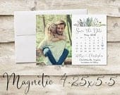 4.25x5.5 inch Calendar Save The Date Magnet, Magnet Save the Date, Photograph Save the Date, Save the Date with Photo, Floral Save the Date