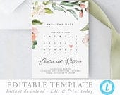 Floral Calendar Save the Date Template Editable invite Greenery save our date invitation Templett Pink and Peach Watercolor florals 17