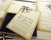 Vintage Compass Wedding Save the Date Card, Navy Blue Postcard, Nautical Pocketfold Wedding Invitations, Beach Wedding Invites, Boat Yacht