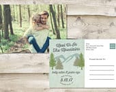 Meet Us in the Mountains Rustic Save The Date Postcard, Rustic Destination Postcard Save the Date, Adventure Couple Photograph Save the Date