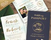 Destination Wedding Passport Invitation Set in Gold and Aqua Watercolor Tropical Design by Luckyladypaper see item details to order