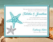 Beach Wedding Reception Invitation Template Blissful Starfish Post Destination Wedding Invitation Ocean Silver DIY Wedding Printable