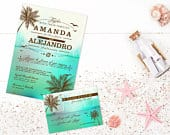 Beach Wedding Invitations Tropical Wedding Invite Destination Wedding Invitation Set Digital Invitations Printable Wedding Invitations DIY