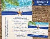 Beach Invitation and Respond Card BCH20INVRCDigital Download