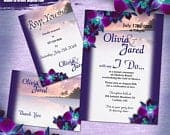OJ Custom Printable Purple Orchid Beach Wedding Invitation 3pc Set, Digital Wedding Invitation Set, Purple Orchid Invitation Digital