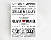 Disney Save the Date Cards, Disney Couples, Wedding Save the Dates, Mickey and Minnie Save the Date, Elegant Fairytale Wedding Announcement
