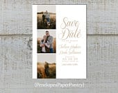 Simple Wedding Photo Save The Date Card,Romantic,Traditional,Unique,Modern,Elegant,Sophisticated,Shimmery,Personalize,Printed Cards,Envelope