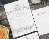 Ornate, Vintage Gray Pocket Wedding Invitation, Personalized Elegant, Romantic, Traditional Winter Wedding Invite Rochelle Clifton