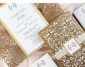 Gold Wedding Invitation, Royal Wedding Invitation, Gold Foil Wedding Invitation for fairytale wedding, Elegant Wedding Invites (Copenhagen)