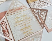 Rose Gold and Dusty Rose Wedding Invitation Fairytale Wedding Invitation with Lace Print Pansy design Sku: PnsAra01