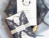 Navy Lace Wedding Invitations, Dusty Blue Wedding Invitation, Floral Navy and Dusty Blue Invites, Laser cut Invitation (Berlin design)
