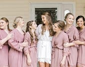 Rose Lace Cotton Robes, Set of 1 2 3 4 5 6 7 8 9 10, Cotton Robes Rose Lace, Rose Lace, Bridesmaids Gifts, Bridal Party Robes, Lace Robes