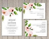 Modern Blush Floral Wedding Invitation, RSVP, Details Card (Printable) by Vintage Sweet