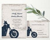 Motorcycle Wedding Invitations Biker Bride Wedding Invitations for Biker Weddings Digital Printable Vintage Motorcycle Harley Color Optional