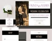 Modern Photo Wedding Invitations, Black Gold and Plum Invites, Photo Wedding Invitation Set DEPOSIT