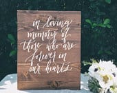 Wedding Memorial Sign, In Loving Memory Sign, Lost Loved Ones Sign, Wooden Memorial Sign, Wood In Memory Sign, Remembrance Sign, Wood