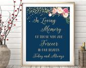 In loving memory sign, remembrance sign, In loving memory wedding sign, Memory table sign, Wedding memory table, Wedding memorial WS21