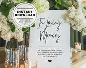 In Loving Memory Sign, Instant Download, Forever in Our Hearts, Wedding Memorial Sign, Printable In Loving Memory Sign, 004