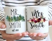 Mr. Mrs. Coffee Mugs Set, Personalized Engagement Gift, Hubby and Wifey Customized Cups, Wedding gift Ideas