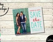 Turquoise, Red Photo Save the Date Save the Date Wedding Magnet Large Photo, Teal, Mardi Gras, Summer