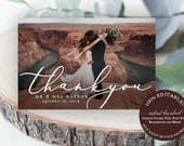 Wedding Thank You Photo Card Template Instant Download Wedding Thank You Card With Photo Custom Thank You Card Folded Flat DIY