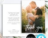 Thank you photo card template Thank you wedding Photo thank you card Instant download Thank you card template wedding Templett DIY vm91
