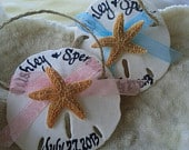 Sand Dollar Calligraphy Ornaments Starfish Beach Wedding Favors Ribbon Twine Charming Whimsical Party Decor Guest Gift Tags Mermaid Inspired