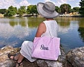 Navy Tote for Bridesmaid Gift,Personalized Beach Bag with Rope Handles, Monogrammed Bridesmaid Tote, Beach Getaway Bag